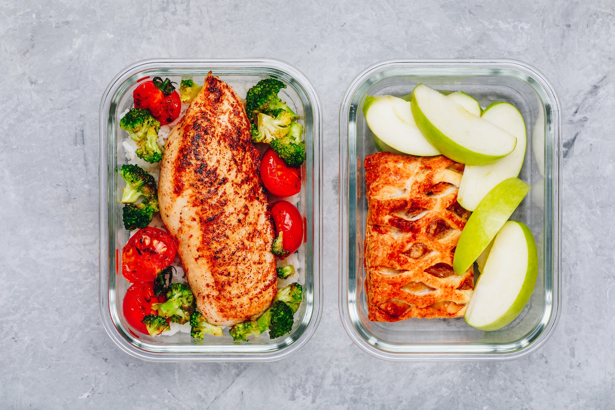 Grilled chicken meal prep containers with riceand pie with apple