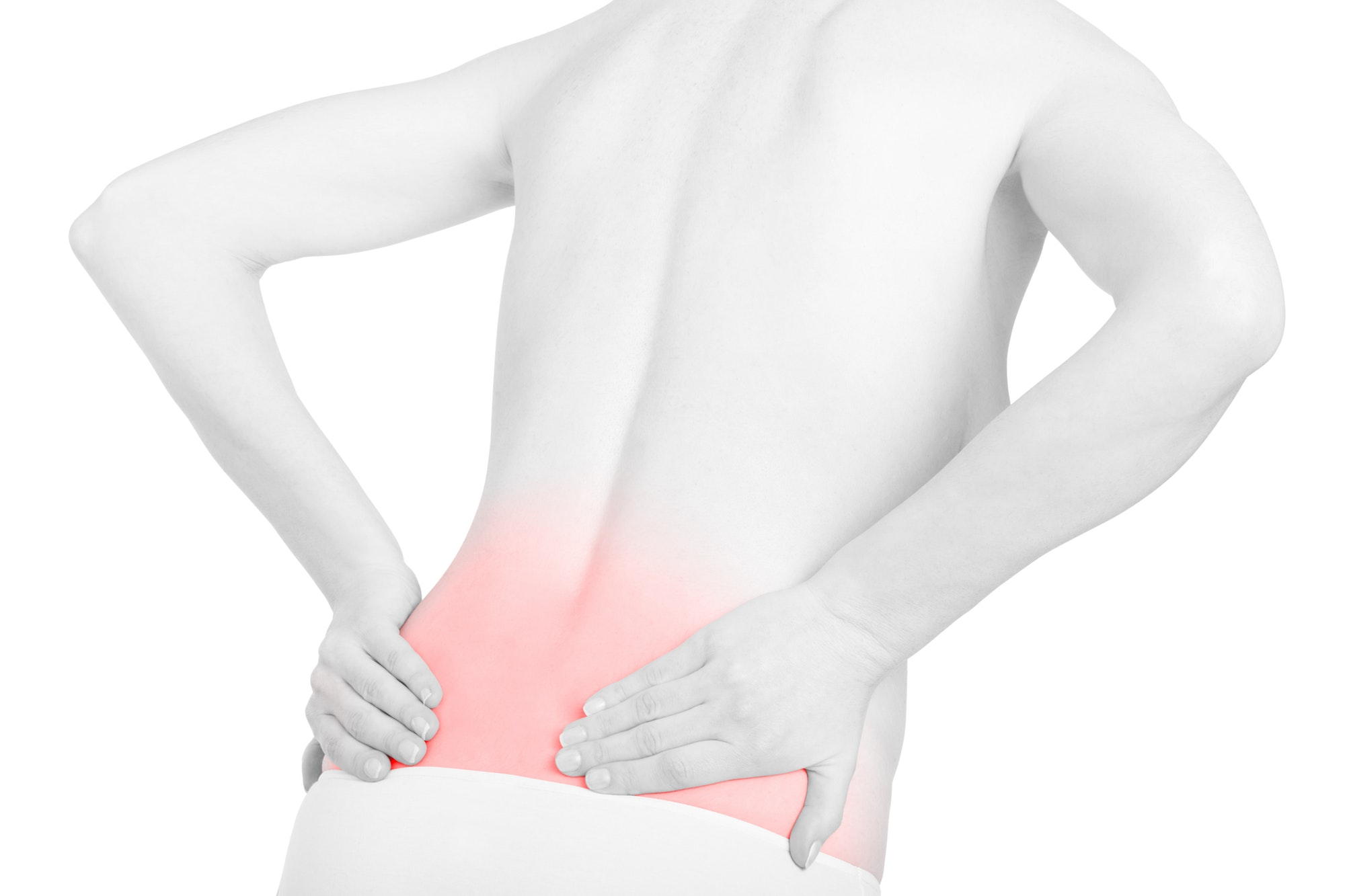 Young adult woman with back pain red area isolated on white, cli