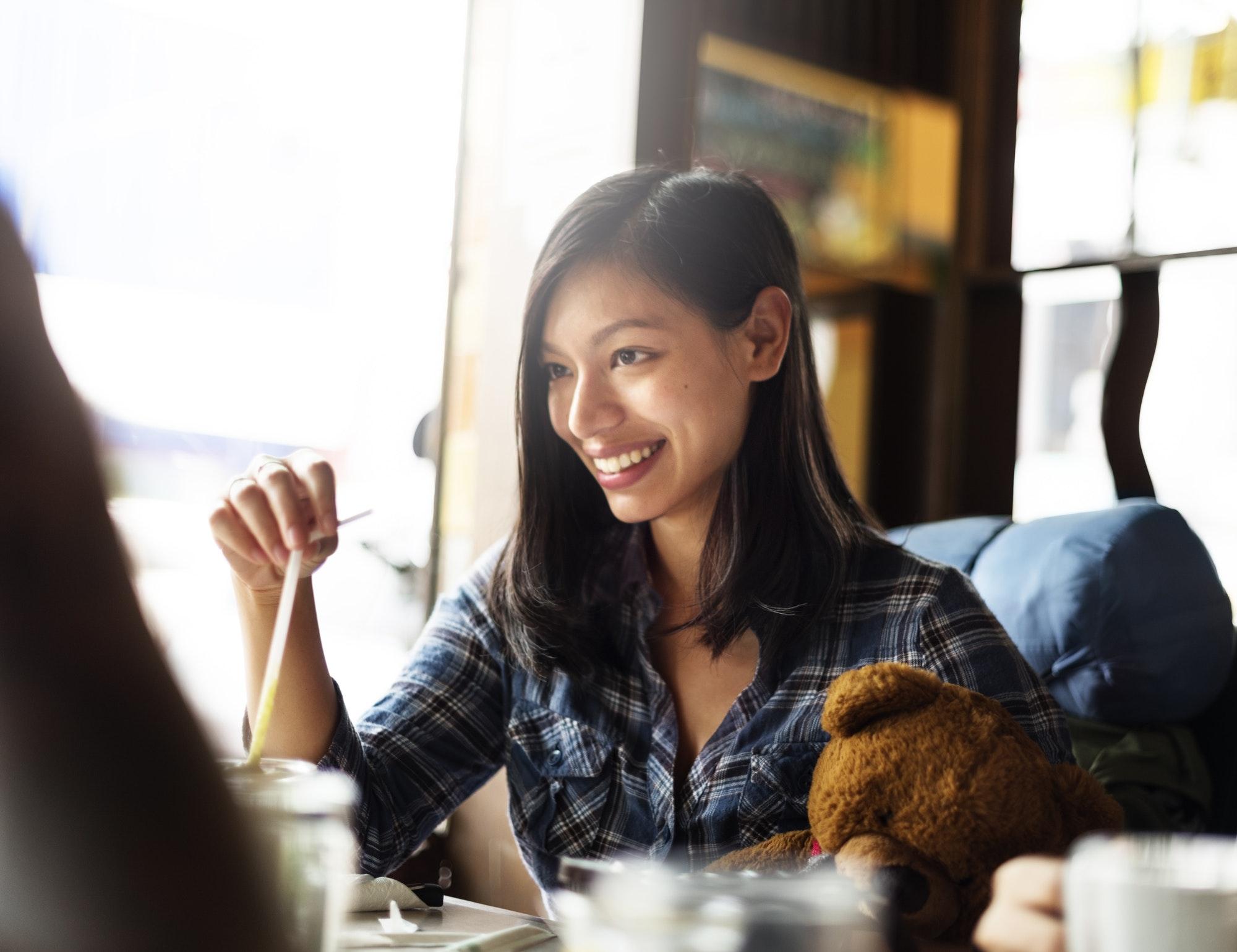 Girl Coffee Shop Drinking Beverage Cafe Restaurant Concept